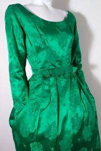 Vintage 50s emerald green satin cocktail dress